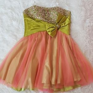 FORMAL PROM TULLE GREEN PINK ORANGE STONED DRESS
